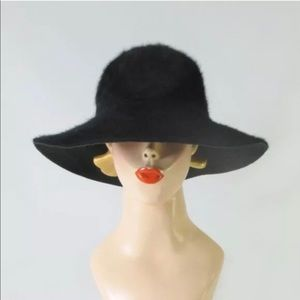 Manhole blue rimmed hat black rabbit angora